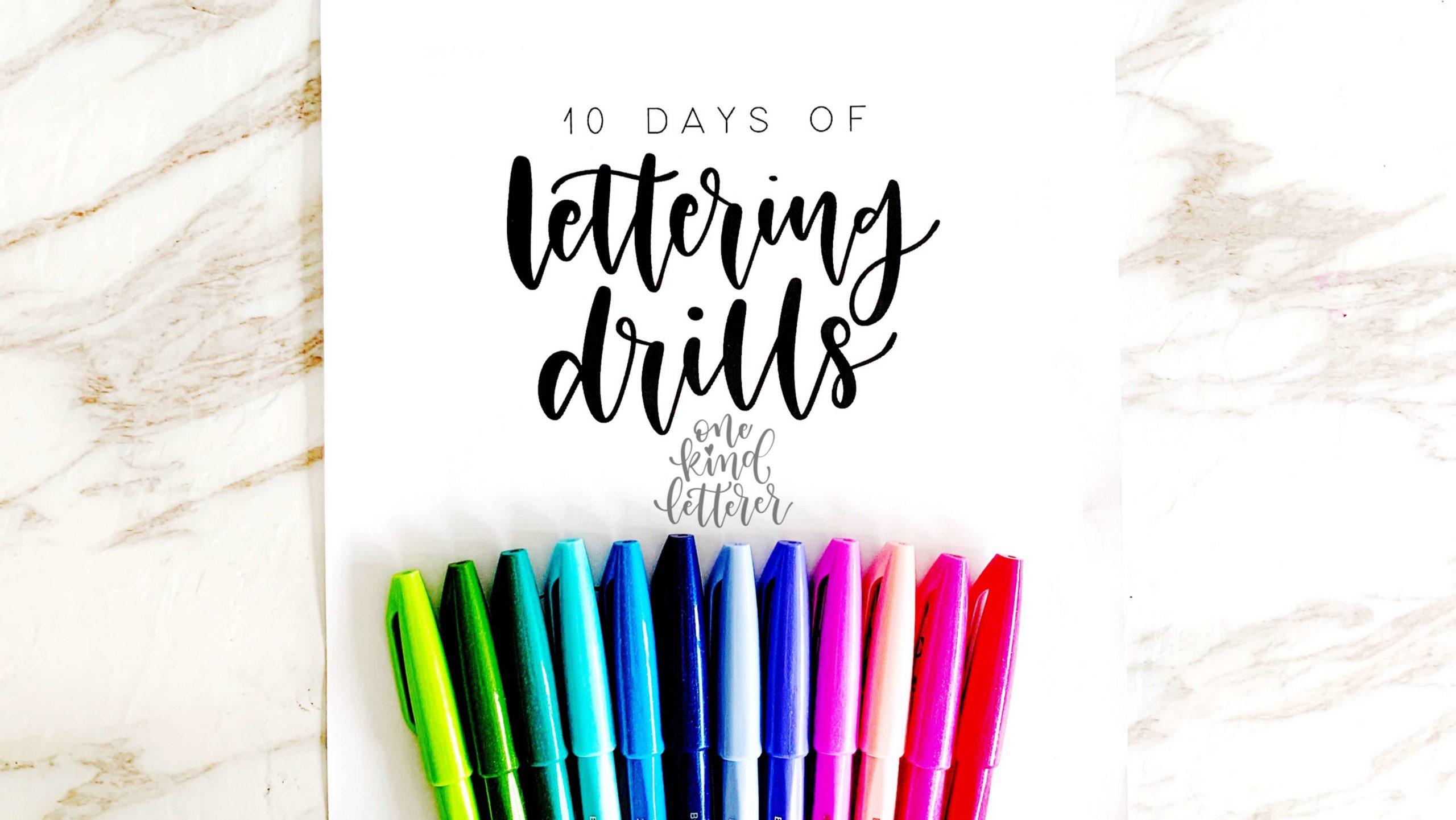 10 days of lettering drills worksheet_pentel pens variety_one kind letterer logo