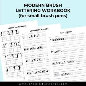 3 brush lettering worksheets