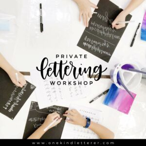 Private Lettering Workshop photo with worksheets and paint and water and painbrush